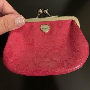 Coach bright pink patent signature Coin purse